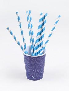 copos descartáveis e canudos para festa azul