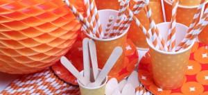 descartáveis para festa laranja