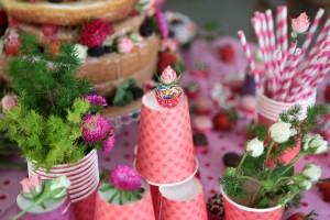 festa de menina copos rosa