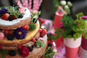 festa de menina naked cake de frutas