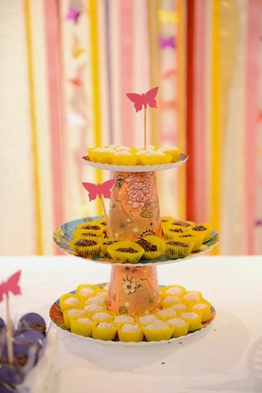 suporte de doces com borboleta