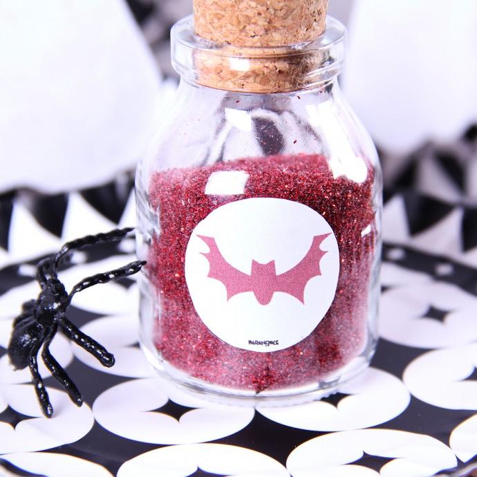 poções para decoração de halloween com aranha