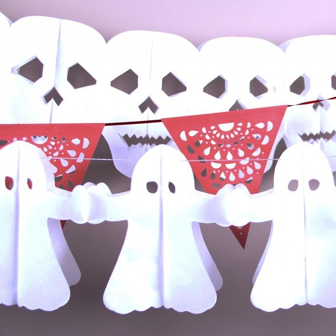 fantasmas e caveiras para decoração de halloween